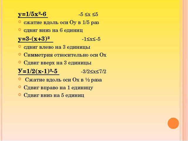 у=1/5х²-6 -5 ≤х ≤5 сжатие вдоль оси Оу в 1/5 раз сдвиг вниз на 6 единиц у=3-(...