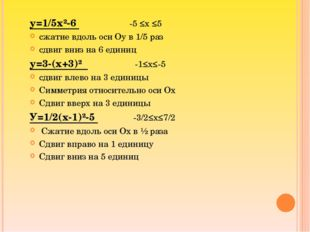 у=1/5х²-6 -5 ≤х ≤5 сжатие вдоль оси Оу в 1/5 раз сдвиг вниз на 6 единиц у=3-(