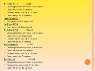У=-1/5(х-3)²+4 1≤х≤5 Симметрия относительно оси абсцисс Сдвиг вправо на з еди