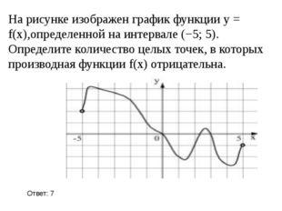 На рисунке изображен график функции y = f(x),определенной на интервале (−5; 5