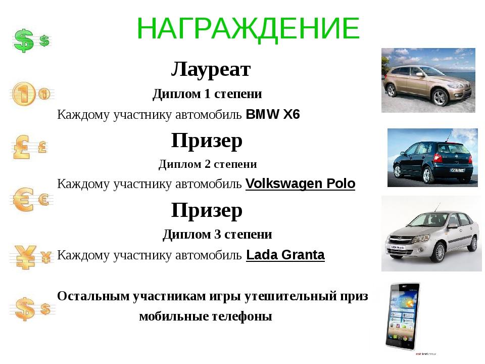 НАГРАЖДЕНИЕ Лауреат Диплом 1 степени Каждому участнику автомобиль BMW X6 Приз...