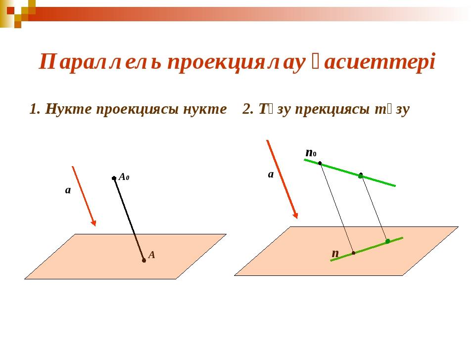 Параллель проекциялау қасиеттері 1. Нукте проекциясы нукте 2. Түзу прекциясы...