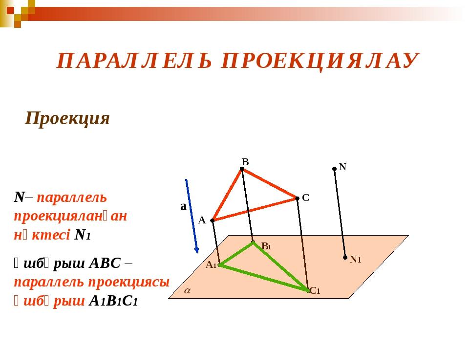 ПАРАЛЛЕЛЬ ПРОЕКЦИЯЛАУ Проекция а A B C A1 B1 C1 N N1 N– параллель проекциялан...