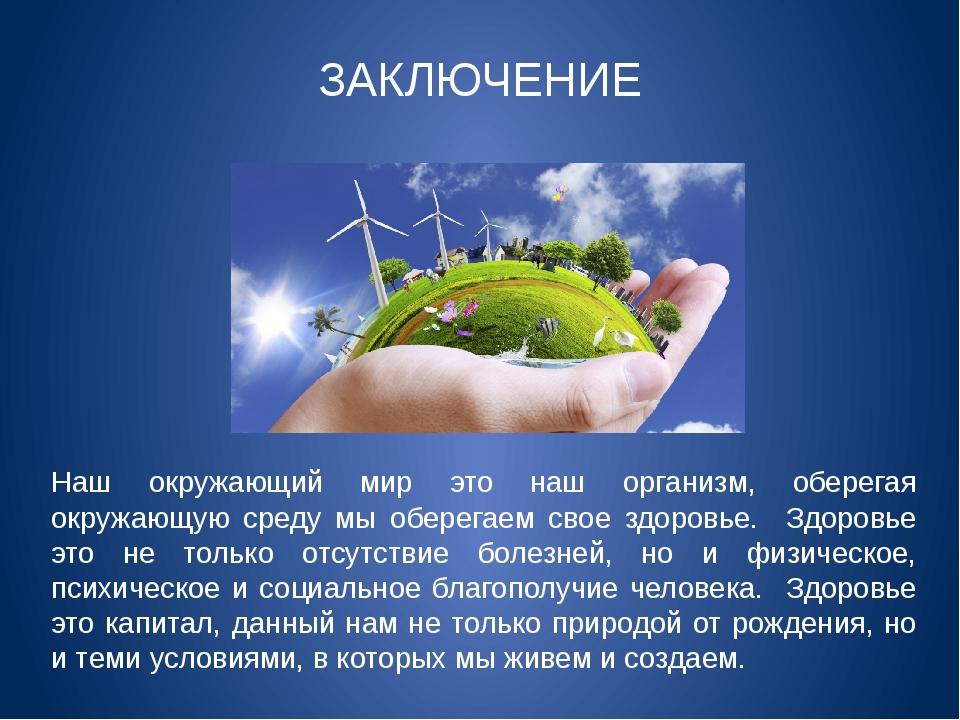 Наш окружающий мир это наш организм, оберегая окружающую среду мы оберегаем с...