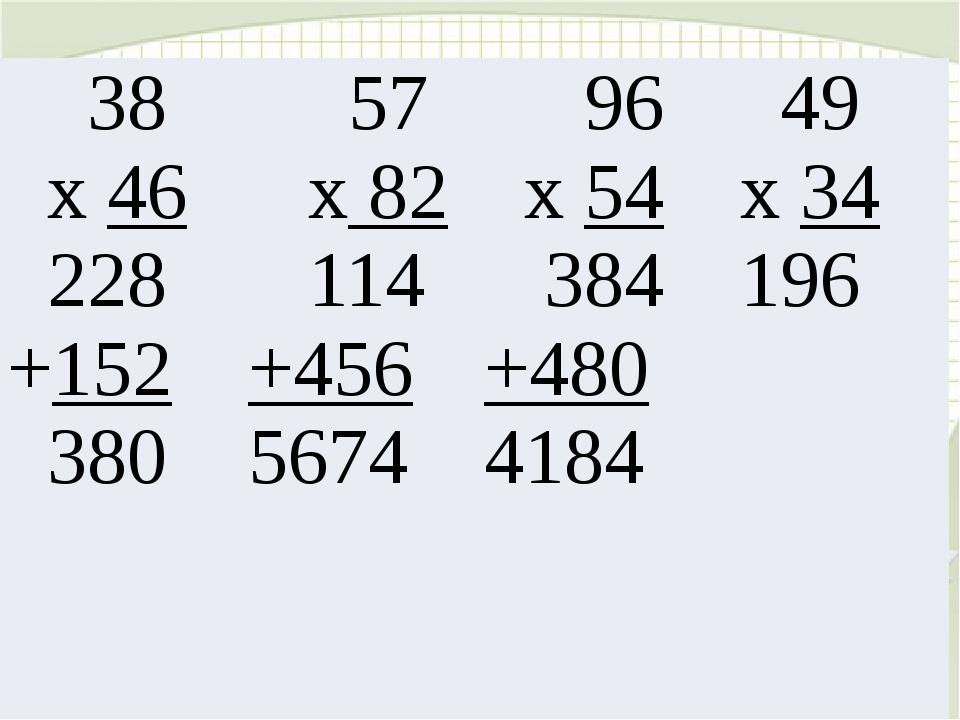 38 х46 228 +152 380 57 х82 114 +456 5674 96 х54 384 +480 4184 49 х34 196
