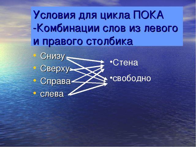 Условия для цикла ПОКА -Комбинации слов из левого и правого столбика Снизу Св...