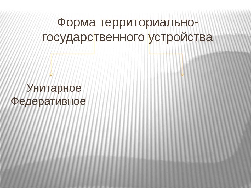 Форма территориально-государственного устройства Унитарное Федеративное