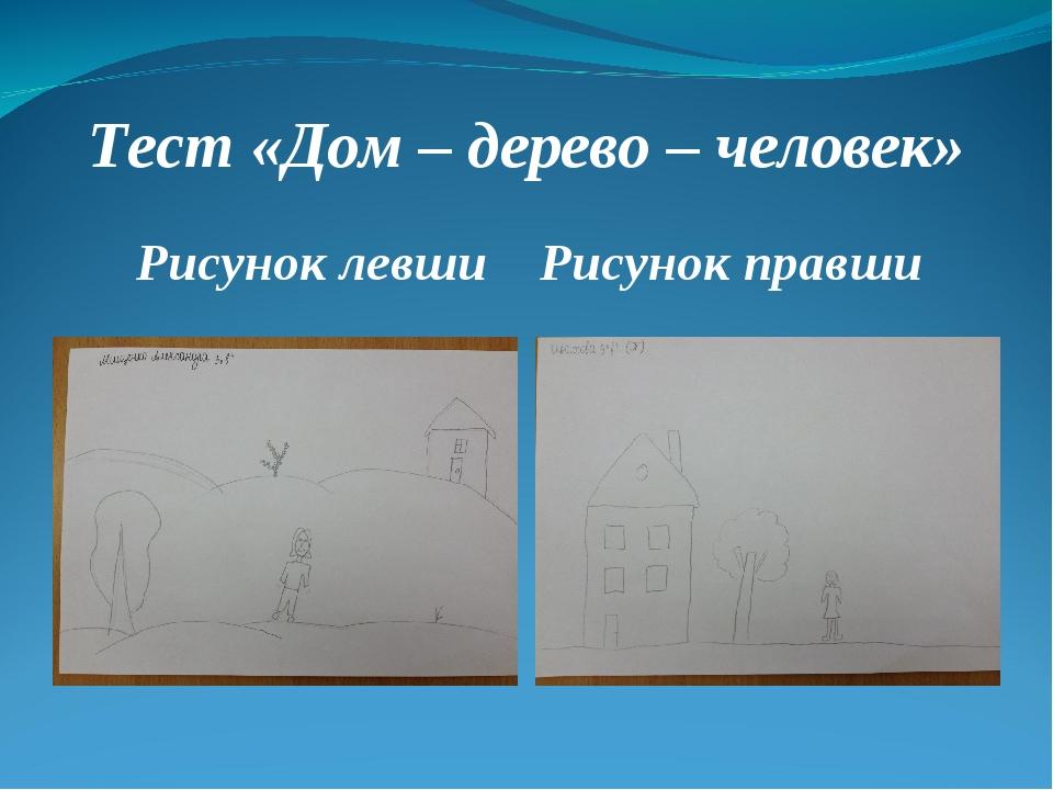 Тест «Дом – дерево – человек» Рисунок левши Рисунок правши