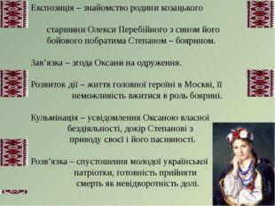 Експозиція – знайомство родини козацького старшини Олекси Перебійного з сином