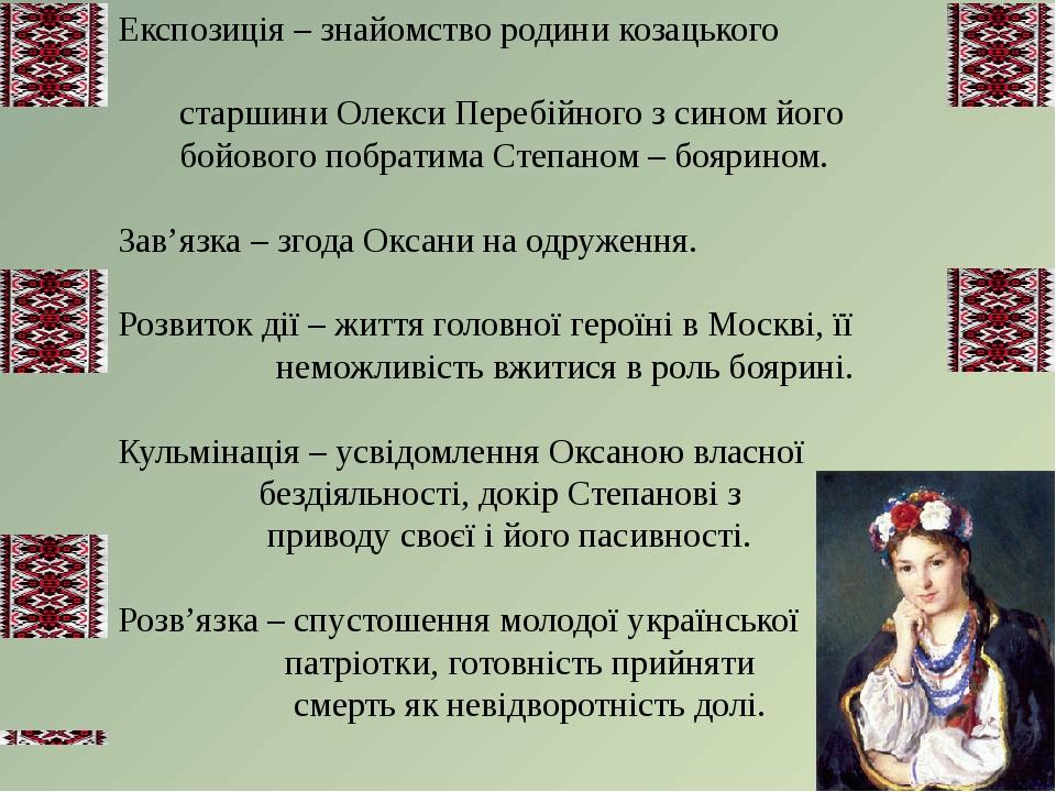 Експозиція – знайомство родини козацького старшини Олекси Перебійного з сином...