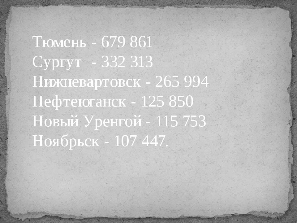 Тюмень- 679 861 Сургут- 332 313 Нижневартовск - 265 994 Нефтеюганск - 125...