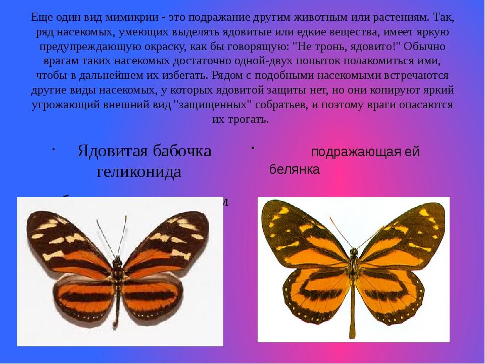 Еще один вид мимикрии - это подражание другим животным или растениям. Так, ря...