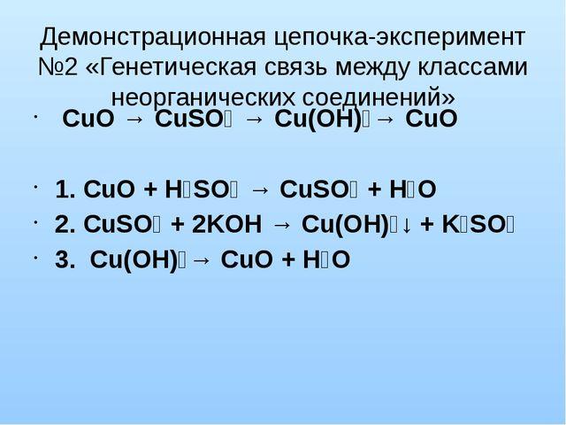 Демонстрационная цепочка-эксперимент №2 «Генетическая связь между классами не...
