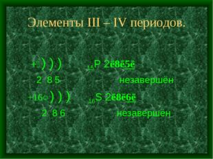 Элементы III – IV периодов. +⑮) ) ) 15P 2ē8ē5ē 2 8 5 незавершён +16○) ) ) 16S