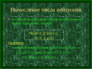 Вычисление числа нейтронов Атомный (порядковый) номер элемента равен заряду я