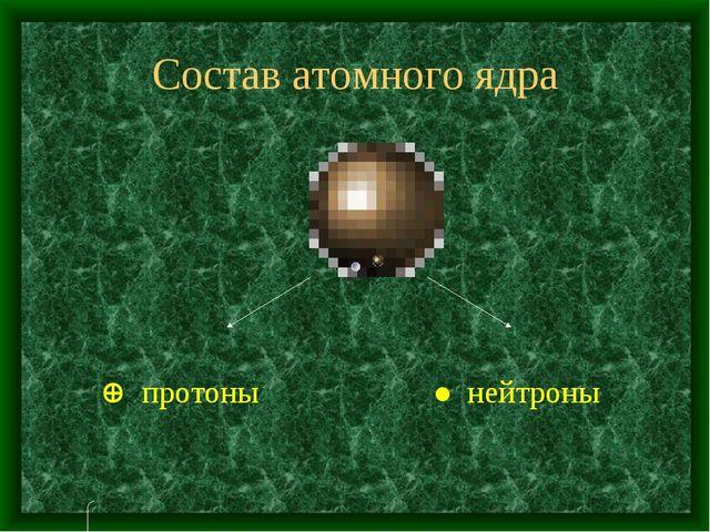 Состав атомного ядра  протоны ● нейтроны
