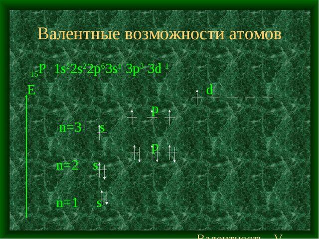 Валентные возможности атомов 15Р 1s22s22p63s1 3p3 3d 1 E d p n=3 s p n=2 s n=...