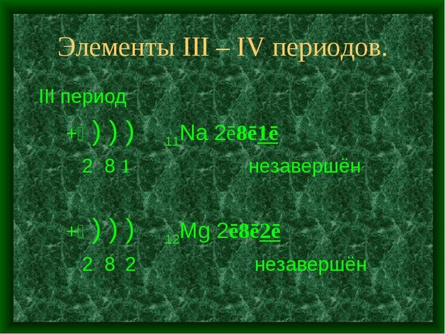 Элементы III – IV периодов. III период +⑪ ) ) ) 11Na 2ē8ē1ē 2 8 1 незавершён...