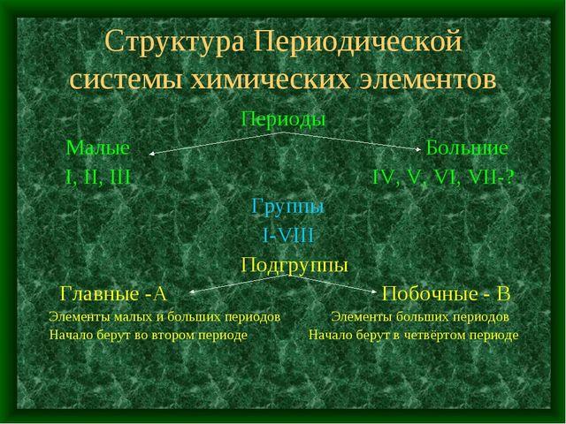 Структура Периодической системы химических элементов Периоды Малые Большие I,...