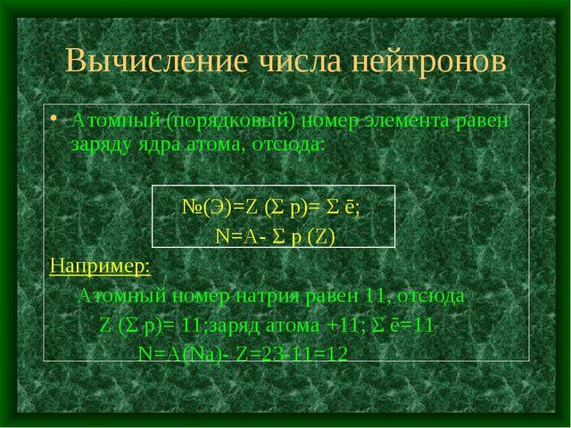 Вычисление числа нейтронов Атомный (порядковый) номер элемента равен заряду я...