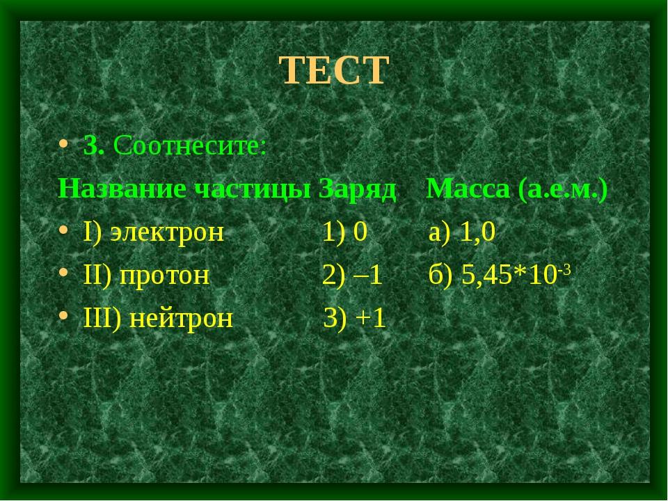 ТЕСТ 3. Соотнесите: Название частицы Заряд Масса (а.е.м.) I) электрон 1) 0 а)...