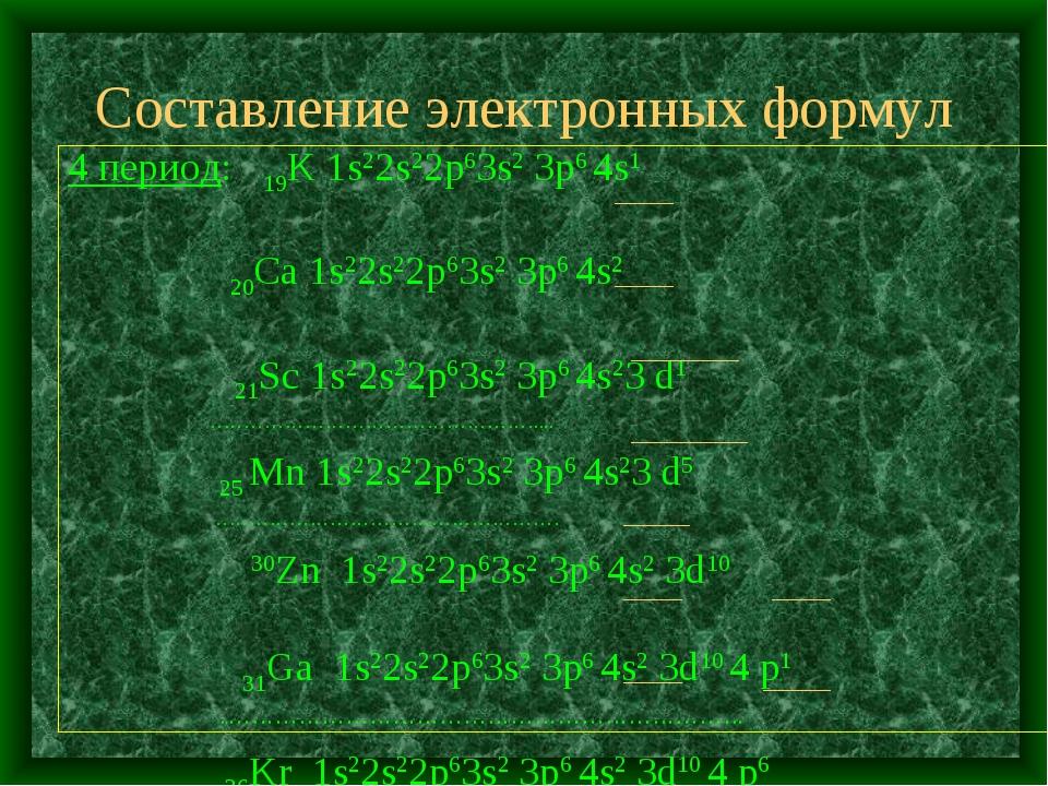 Составление электронных формул 4 период: 19K 1s22s22p63s2 3p6 4s1 20Ca 1s22s2...