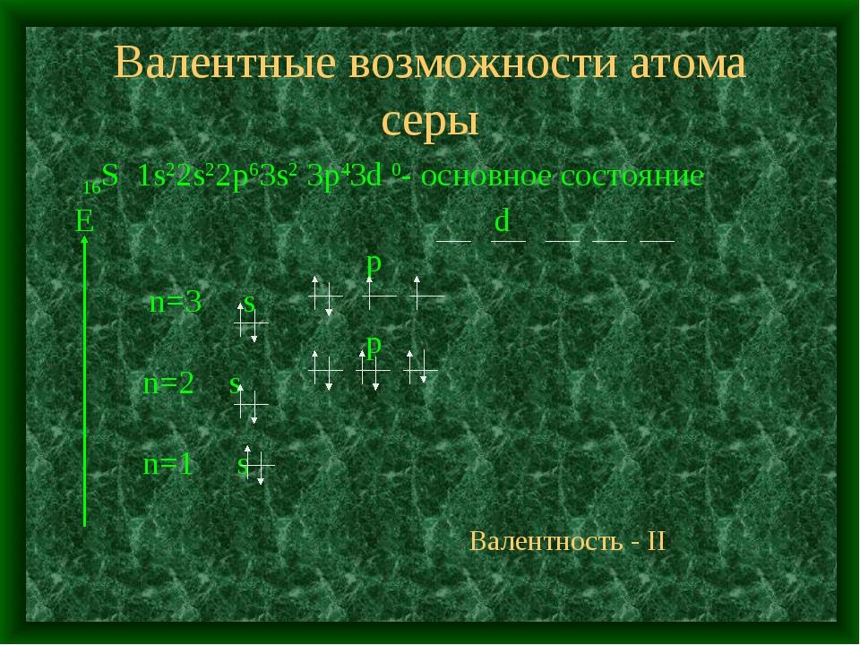 Валентные возможности атома серы 16S 1s22s22p63s2 3p43d 0- основное состояние...