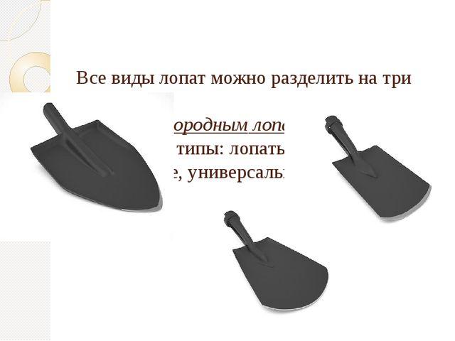 Все виды лопат можно разделить на три класса: К садово-огородным лопатам отн...