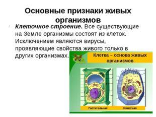 Основные признаки живых организмов Клеточное строение. Все существующие на Зе