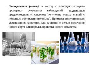 Эксперимент (опыт) – метод, с помощью которого проверяют результаты наблюден