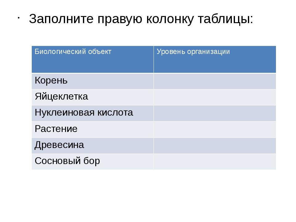 Заполните правую колонку таблицы: Биологический объект Уровень организации Ко...