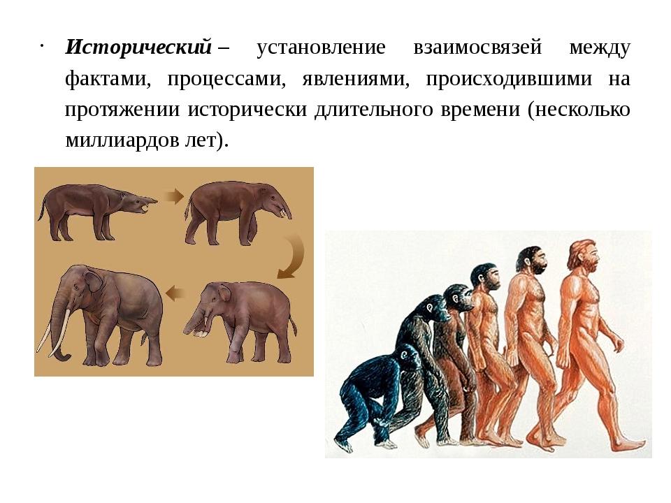 Исторический– установление взаимосвязей между фактами, процессами, явлениями...