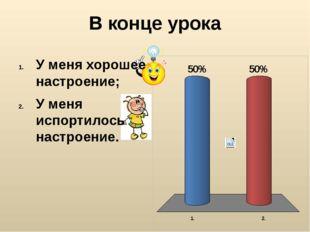 В конце урока У меня хорошее настроение; У меня испортилось настроение.