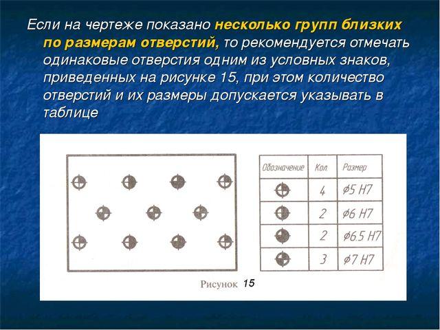 Если на чертеже показано несколько групп близких по размерам отверстий, то ре...