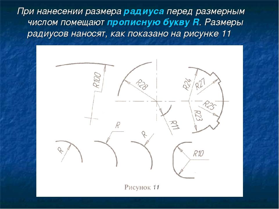 При нанесении размера радиуса перед размерным числом помещают прописную букву...