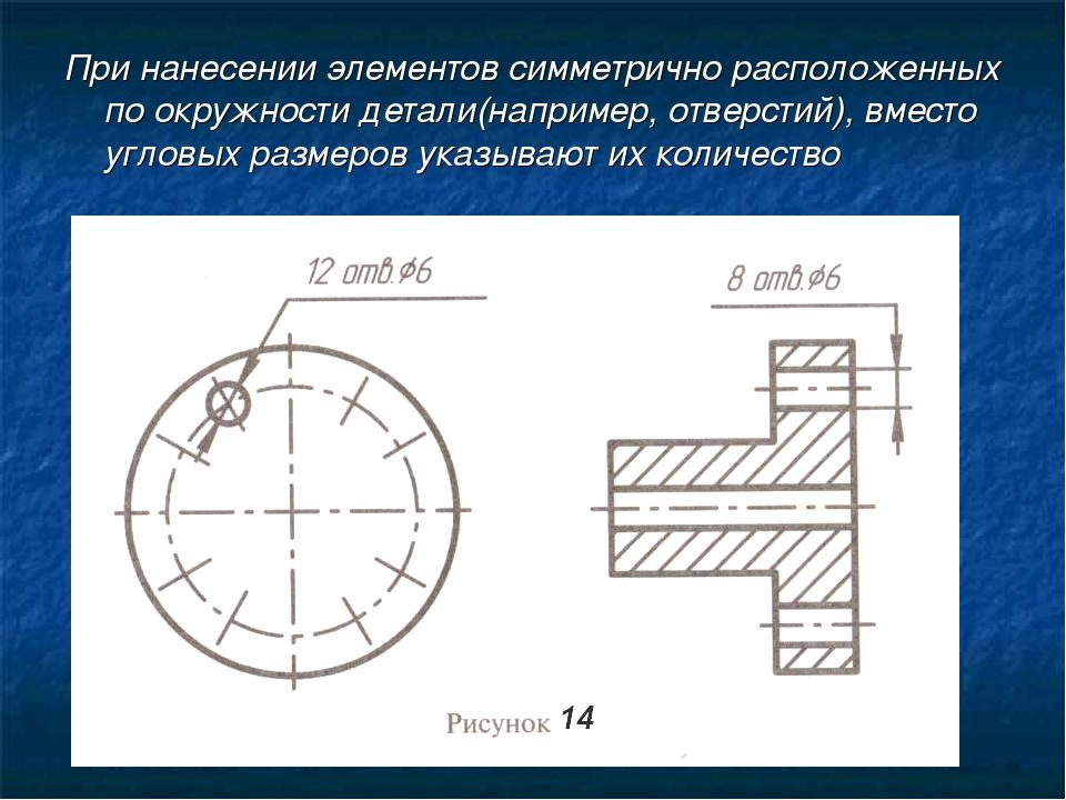 При нанесении элементов симметрично расположенных по окружности детали(наприм...