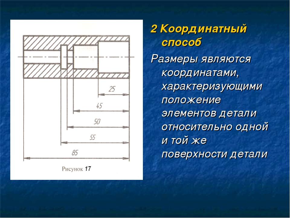 2 Координатный способ Размеры являются координатами, характеризующими положен...