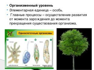Организменный уровень Элементарная единица – особь. Главные процессы – осущес
