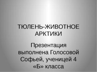 ТЮЛЕНЬ-ЖИВОТНОЕ АРКТИКИ Презентация выполнена Голосовой Софьей, ученицей 4 «Б