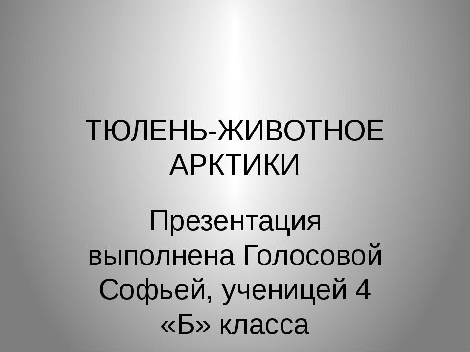 ТЮЛЕНЬ-ЖИВОТНОЕ АРКТИКИ Презентация выполнена Голосовой Софьей, ученицей 4 «Б...