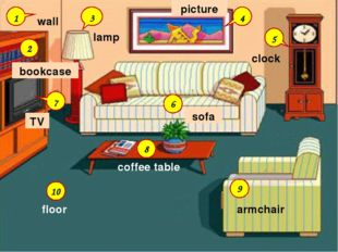 6 9 8 10 2 3 4 5 7 bookcase picture clock lamp coffee table sofa armchair flo