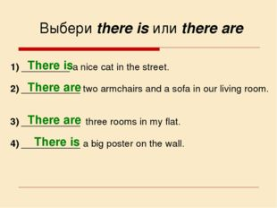 Выбери there is или there are 1) _________ a nice cat in the street. 2) _____