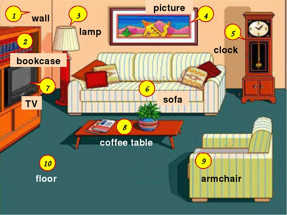 6 9 8 10 2 3 4 5 7 1 coffee table TV wall clock floor sofa bookcase picture a...