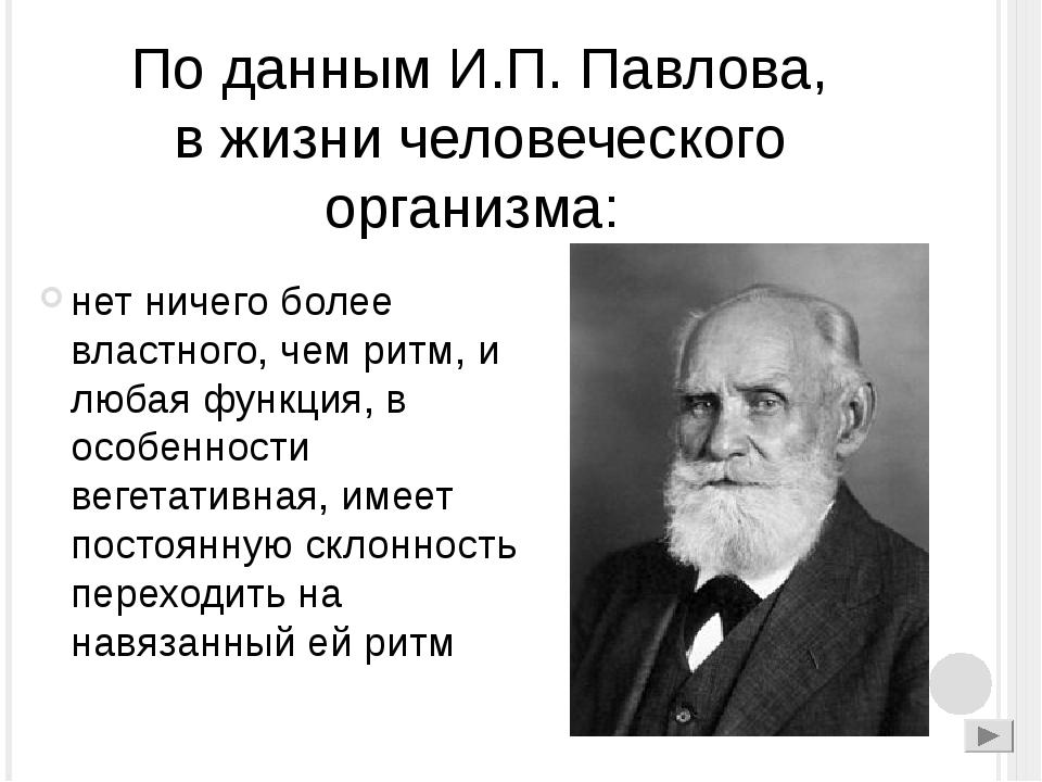 По данным И.П. Павлова, в жизни человеческого организма: нет ничего более вла...