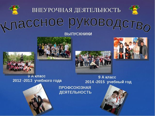ВНЕУРОЧНАЯ ДЕЯТЕЛЬНОСТЬ 9 А класс 2012 -2013 учебного года 9 А класс 2014 -20...