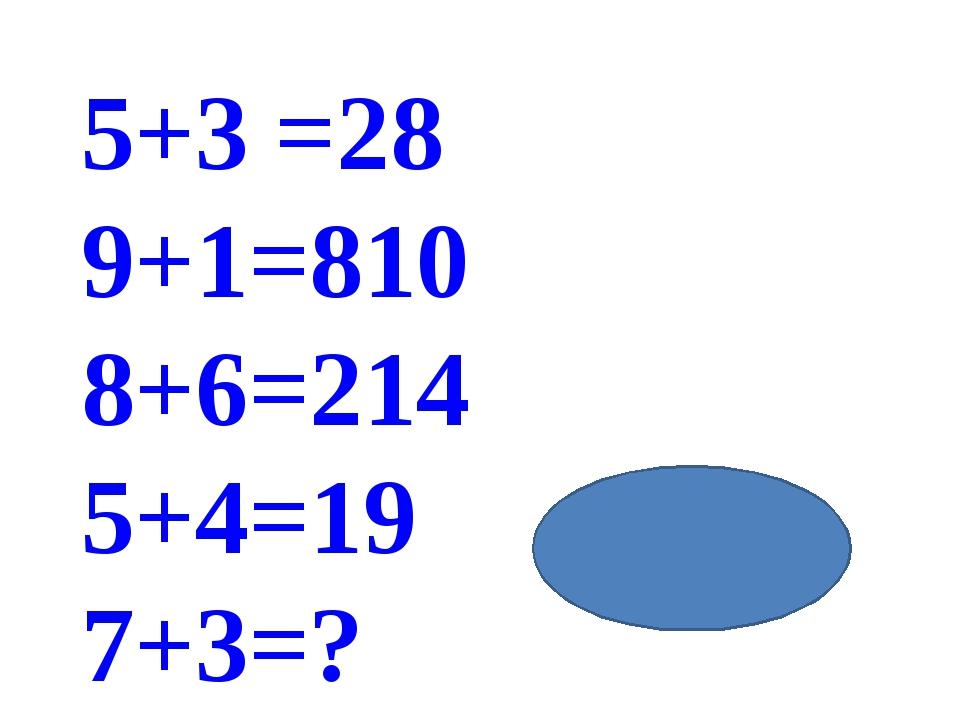 5+3 =28 9+1=810 8+6=214 5+4=19 7+3=? жауабы:410