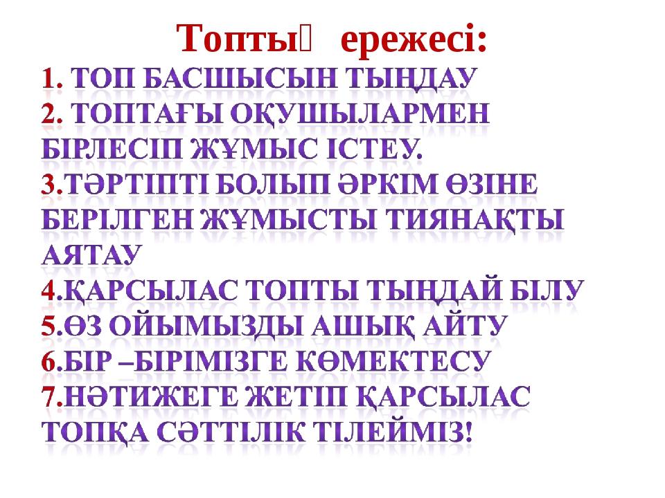 Топтың ережесі: