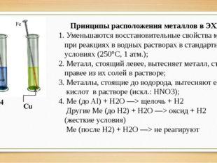 CuSO4 Cu Принципы расположения металлов в ЭХРНМ 1. Уменьшаются восстановитель