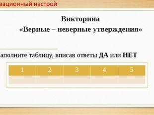 Викторина «Верные – неверные утверждения» Заполните таблицу, вписав ответы ДА
