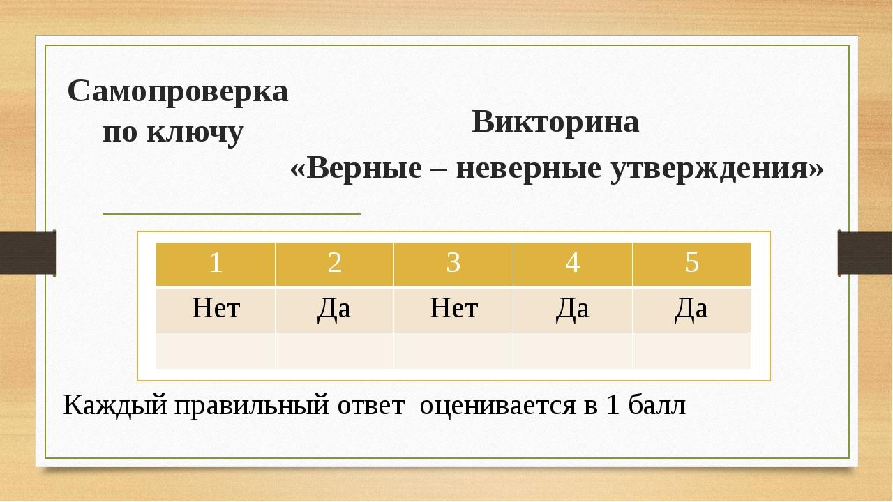 Самопроверка по ключу Викторина «Верные – неверные утверждения» Каждый правил...